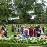 Blicke in den Garten des Gästehauses der Landesregierungr